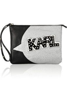 Karl Lagerfeld                               + tokidoki glitter-finished faux leather clutch
