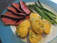 Cowboy Steak, Garlic Cheddar Potatoes, and Asparagus with Lemon Vinaigrette--21 Day Fix Approved
