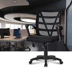 Swivel Black Medium Back Mesh Home Office Desk Chair Seat Comfortable V Shape in Home, Furniture & DIY, Furniture, Chairs   eBay