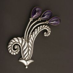 Brooch | Los Castillo.  Sterling silver and amethyst. ca. 1940s, Taxco.