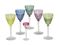 Colored Stemware | SET OF NINE COLORED CUT GLASS WINE GLASSES, AND THREE CORDIALS,