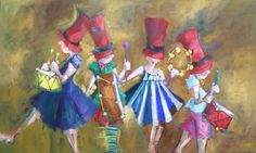 Angela Morgan, the eructation of the percussive pandemonium, Oil on Canvas 36 X 60 in.