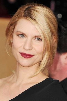 """Claire Danes' muddled wine lips and golden eyes beautifully reflect the colors of the season. """"This high-fashion, autumnal makeup looks the most dramatic and elegant on pale blondes like Claire; otherwise it really flatters the skin tones of Latinas, too,"""" said Matin in reference to the SAG Awards beauty statement."""