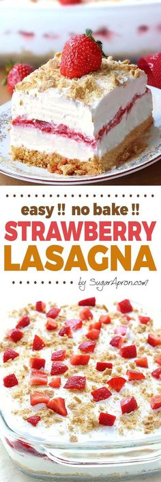 No Bake Strawberry Cheesecake Lasagna -a dessert lasagna with graham cracker crust, cream cheese filling, strawberries and cream topping, will make all Your Strawberries and Cream dreams come true. desserts No Bake Strawberry Cheesecake Lasagna 13 Desserts, Delicious Desserts, Cheesecake Desserts, Strawberry Cheesecake No Bake, Baking Desserts, Strawberry Cream Cheese Dessert, Pumpkin Cheesecake, Sugar Free No Bake Desserts, Desserts For Summer