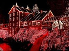 Clifton Mill Ohio - The Clifton Mill and its connecting covered bridge in Yellow Springs, Ohio. Distillery, tavern, trading post, and restaurant. Spectacular Christmas lights display!!