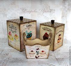 """Купить Набор коробов """"Французский десерт"""" - бежевый, короб, короб для хранения, набор для кухни, набор"""