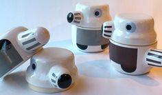Cheerful ceramic family pots / bowls