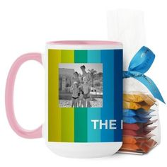 Colorful Stripes Mug, Pink, with Ghirardelli Minis, 15 oz, Blue