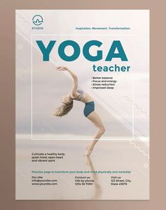 Yoga Instructor Poster Template AI, EPS, INDD, PSD and MS Word - Both US Medium and EU A2 poster formats Professional Poster, Poster Templates, Physically And Mentally, Yoga Teacher, Stress, Mindfulness, Medium, Words, Inspiration