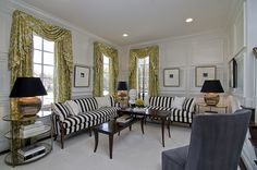 Pin stripe couches #ModelHome