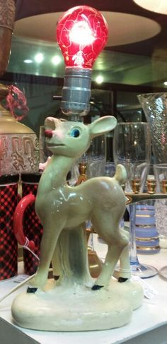 Rudolph the red nose lamp, vintage