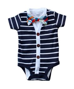 SALE Cardigan and Bow Tie Set - Navy with Madras Plaid - Trendy Baby Boy - Perfect for Spring Shower