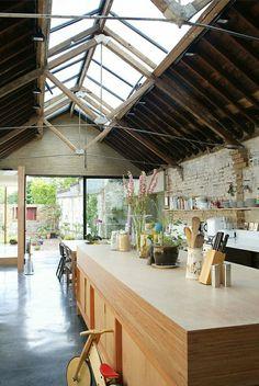 cuisine, salle de séjour moderne, plafond haut en verre , toit sous pente en verre, mansardé