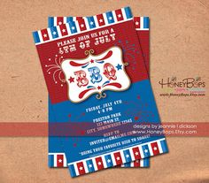 BBQ 4th of July Patriotic Invitation Custom Invite by HoneyBops $16.95 #Fourth #of #July #4th #Independence #Day #BBQ #barbeque #party #grill #grilling #cookout #invite #invitation #announcement #event #custom #personalized #patriotic #America #American #flag #stars #and #stripes #USA #printable #digital #God #Bless #fireworks #DIY #digital #Freedom #red #white #blue