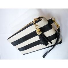Two Color Stripped Genuine Leather Cell Phone Purse, Credit Card Wallet, Currency and Makeup Purse for Women - Black & Cream