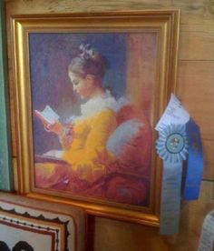 A Young Girl Reading - Jean-Honore Fragonard with a simple gold frame. A Scarlet Quince design.