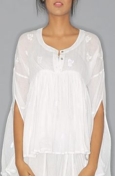 38e37384d4e0f White Kedia Top in mul with shadow embroidery work. The top is