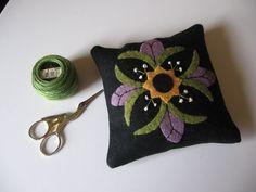 Purple Flower Motif Pincushion Wool Applique JKB. $18.50, via Etsy.