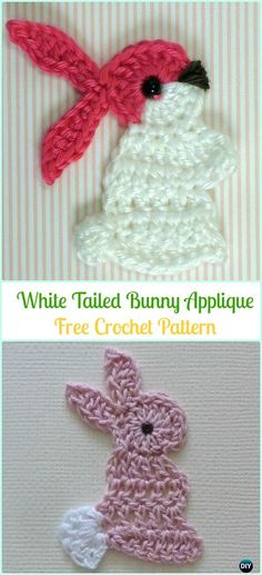 Crochet White Tailed Bunny Applique Free Pattern-Crochet Bunny Applique Free Patterns