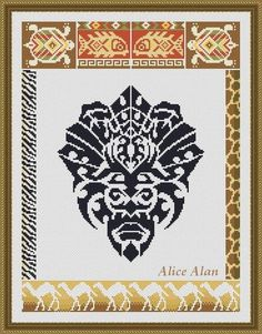 African mask with ethnic motifs Counted Cross Stitch от HallStitch