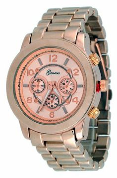 Geneva Women's Rose Gold Metal Band Oversize Watch #1311 Geneva. $17.97. Baguette Stone Bezel. non-functioning sub-dials. Stainless Steel Back Cover. Precision Crafted Japan Quartz Movement