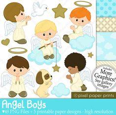 Niños Angeles  Set de Clip Art y Papeles por pixelpaperprints
