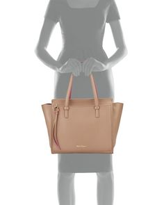 Salvatore Ferragamo Amy Gancio Large Leather Tote Bag, Nutmeg/Anemone $1,490.00