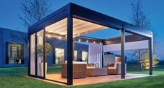 Ted's Woodworking Plans - Pergola ouverte toit store tendu Get A Lifetime Of Project Ideas & Inspiration! Step By Step Woodworking Plans Modern Pergola, Outdoor Pergola, Diy Pergola, Outdoor Rooms, Outdoor Living, Outdoor Decor, Pergola Lighting, Small Pergola, Small Patio