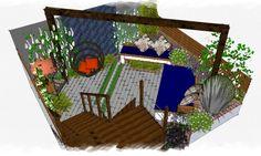 Diagonal to diagonal - really pushes things to appear bigger #gardendesign #courtyard #gardendesigner #earthdesigns