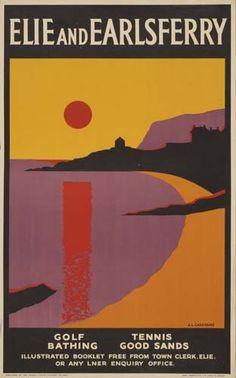 Vintage Travel Beach Poster ELIE AND EARLSFERRY (Scotland U.K.)  J. R. CARSTAIRS  . ca. 1930 #railway #essenzadiriviera www.varaldocosmetica.it/en