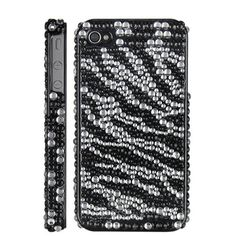 High Quality Zebra Diamond Rhinestone Bling Hard Case for iPhone 4 iPhone 4S (Black). $9.99, via Etsy.