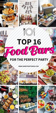 Incorporate these fabulous food bar ideas into your next party and wow your guests. Clever and most of all delicious these food bars are a guranteed hit. food bar 15 Fabulous Food Bar Ideas For Any Event - Smart Party Ideas Party Food On A Budget, Party Food Bars, Snacks Für Party, Teen Party Foods, Food For Party Buffet, Birthday Party Food For Kids, Cheap Party Food, Birthday Party Menu, Party Food Menu
