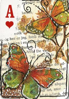 Altered Playing Card/ACEO Butterfly Series Ace of Hearts