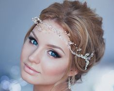 Crystal Bridal Hair Vine Wedding Bridal Halo Bridal Headband Wedding Tiara Bridal Diadem Bridal Wreath Baby Glass Halo Forehead