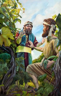 King Ahab approaches Naboth in a vineyard