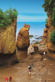 Bay of Fundy - Each day 100 billion tons of seawater flows in and out of the bay during a single tide cycle. The greatest tides in the world occur in the Burntcoat Head in the Minas Basin, Nova Scotia. It has the greatest mean spring range with 47.5 feet and an extreme range of 53.5 feet.