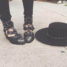 Black on black in @jeffreycampbell shoes and our Janelle Boater Hat. #NastyGalsDoItBetter || Shop shoes: http://www.nastygal.com/shoes-brands-jeffrey-campbell?utm_source=pinterest&utm_medium=smm&utm_term=nastygals_do_it_better&utm_campaign=ngdib & shop hat: http://www.nastygal.com/accessories/janelle-boater-hat?utm_source=pinterest&utm_medium=smm&utm_term=nastygals_do_it_better&utm_campaign=ngdib