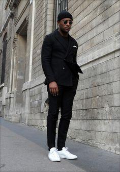 Mens Fashion Tips .Mens Fashion Tips All Black Fashion, All Black Outfit, Black Outfits, All Black Wardrobe Men, All Black Men, Classy Fashion, Color Fashion, Petite Fashion, French Fashion