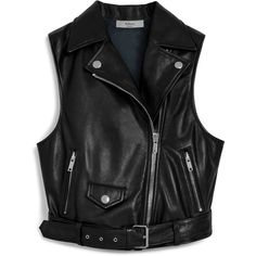 Mulberry Cathlyn Vest (21.370 ARS) ❤ liked on Polyvore featuring outerwear, vests, jackets, coats, tops, black, sleeveless leather vest, vest waistcoat, punk leather vest and leather vest