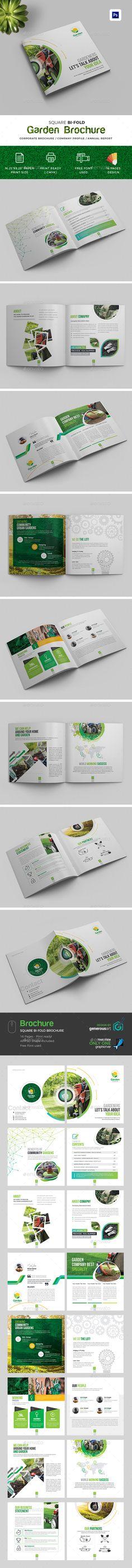 Garden #Square #Bi-Fold Brochure - #Brochures Print Templates