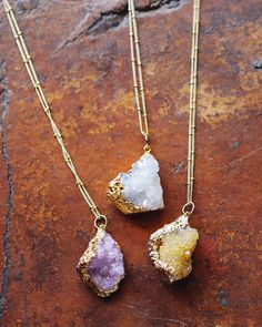 Violet Organic Druzy Pendant Necklace | Fashion Jewelry - Delicates | charming charlie