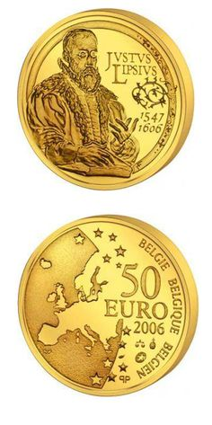 Lipsius, Justus 50 euro: anniversary of the death Justus Lipsius.Country: Belgium Mintage year: 2006 Face value: 50 euro Diameter: mm Weight: g Alloy: Gold Quality: Proof Mintage: pc proof Gold Money, Gold And Silver Coins, Gold Bullion, World Coins, Goods And Services, Christianity, Euro, Character Art, Blouses
