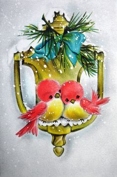 Early 1960s Vintage Christmas Card - sweet birds on a door knocker