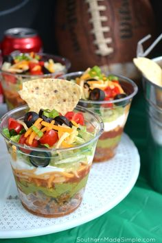 Touchdown Taco Cups - if you're planning on tailgating or throwing a party to watch the big game, these taco cups are a must! No more gathering around the dip bowl! Stock up on all of your game day essentials at Family Dollar! #GameTimeHosting #ad