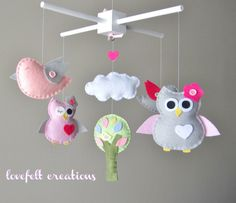 Baby Crib Mobile  Baby Mobile  Owl and birds by LoveFeltXoXo, $99.00... Think il make it instead!