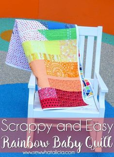 Sewing Blankets Scrappy Easy Rainbow Quilt Pattern and Tutorial - This rainbow quilt is perfect for beginners. Use your scraps or grab new fabric and then whip this one up for the baby in your life. Click through for a printable pattern and full tutorial. Sewing Projects For Beginners, Easy Sewing Projects, Quilting Projects, Sewing Tutorials, Sewing Ideas, Sewing Tips, Learn Sewing, Simple Projects, Sewing Hacks