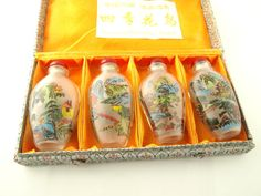Glass Snuff Bottle Set  Hand Painted Glass  Four by VintageParis