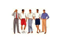 Butterick 5123 Men's Pleated Pants and Shorts in Two Lengths, Uncut, Factory Folded Sewing Pattern Plus Size Craft Patterns, Sewing Patterns, Pleated Pants, Casual Wear, Plus Size, Shorts, Knitting, Crochet, Stuff To Buy