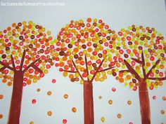 "Fall Trees with thumb prints... Maybe add pictures and "" We are thumbody special"""