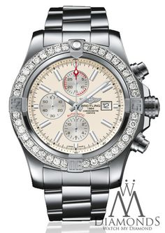 NEW BREITLING SUPER AVENGER II (TWO) 3.20CT. DIAMOND WATCH A1337111/G779